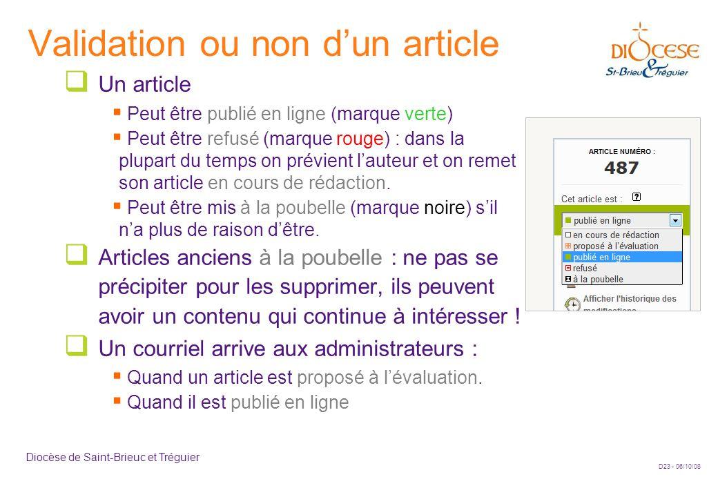D23 - 06/10/08 Diocèse de Saint-Brieuc et Tréguier Validation ou non d'un article  Un article  Peut être publié en ligne (marque verte)  Peut être