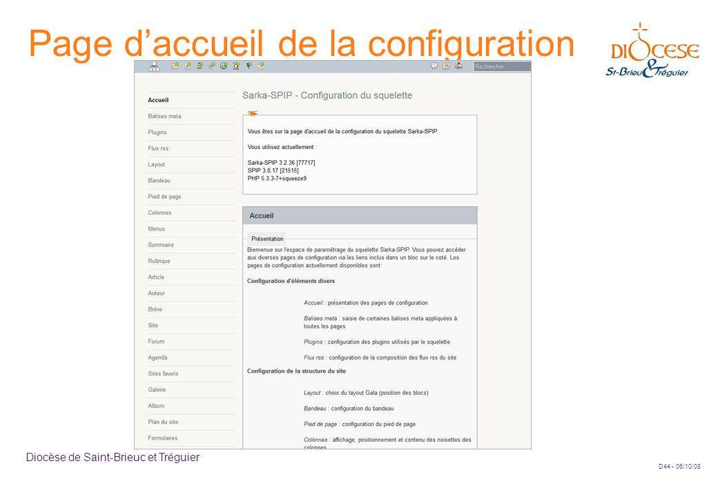 D44 - 06/10/08 Diocèse de Saint-Brieuc et Tréguier Page d'accueil de la configuration