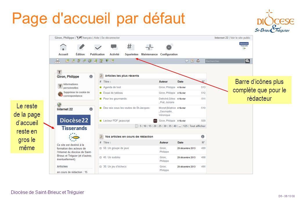 D6 - 06/10/08 Diocèse de Saint-Brieuc et Tréguier Page d accueil par défaut Le reste de la page d'accueil reste en gros le même Barre d'icônes plus complète que pour le rédacteur