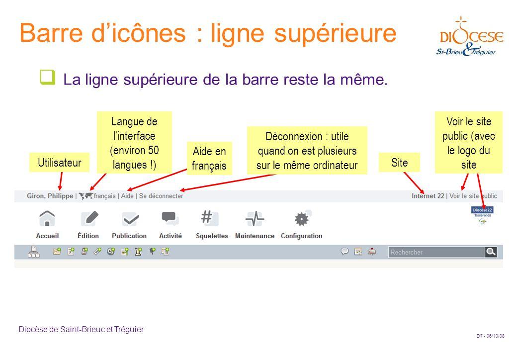 D7 - 06/10/08 Diocèse de Saint-Brieuc et Tréguier Barre d'icônes : ligne supérieure  La ligne supérieure de la barre reste la même. Utilisateur Langu