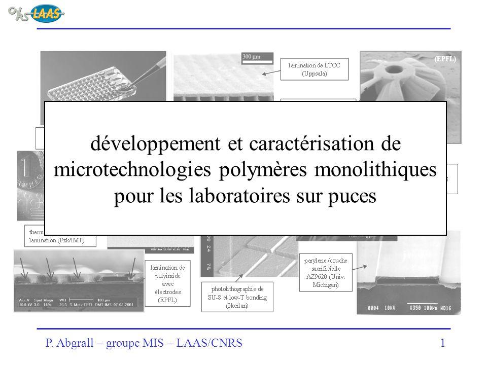 P. Abgrall – groupe MIS – LAAS/CNRS1 développement et caractérisation de microtechnologies polymères monolithiques pour les laboratoires sur puces
