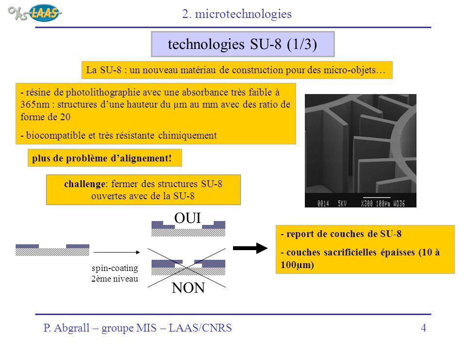 P. Abgrall – groupe MIS – LAAS/CNRS4 technologies SU-8 (1/3) La SU-8 : un nouveau matériau de construction pour des micro-objets… - résine de photolit