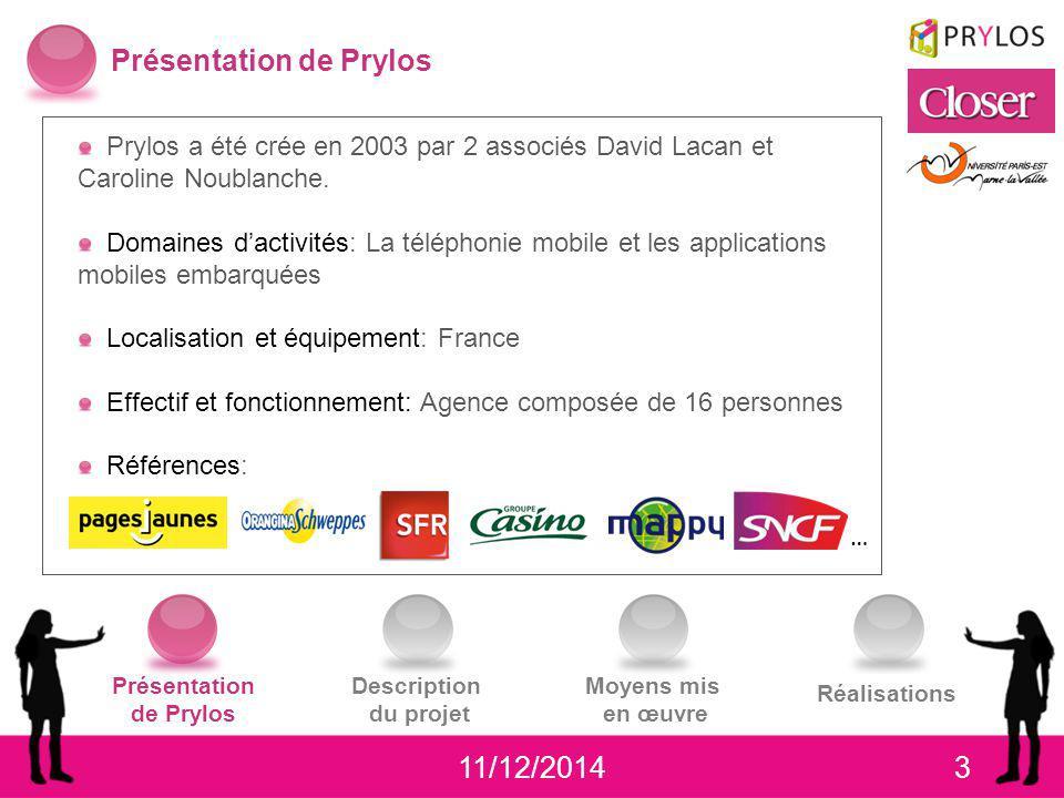 411/12/2014 Présentation de Prylos Description du projet Moyens mis en œuvre Réalisations Description du projet Réalisation et conception des interfaces graphiques pour une application mobile J2ME et iPhone pour Closer.