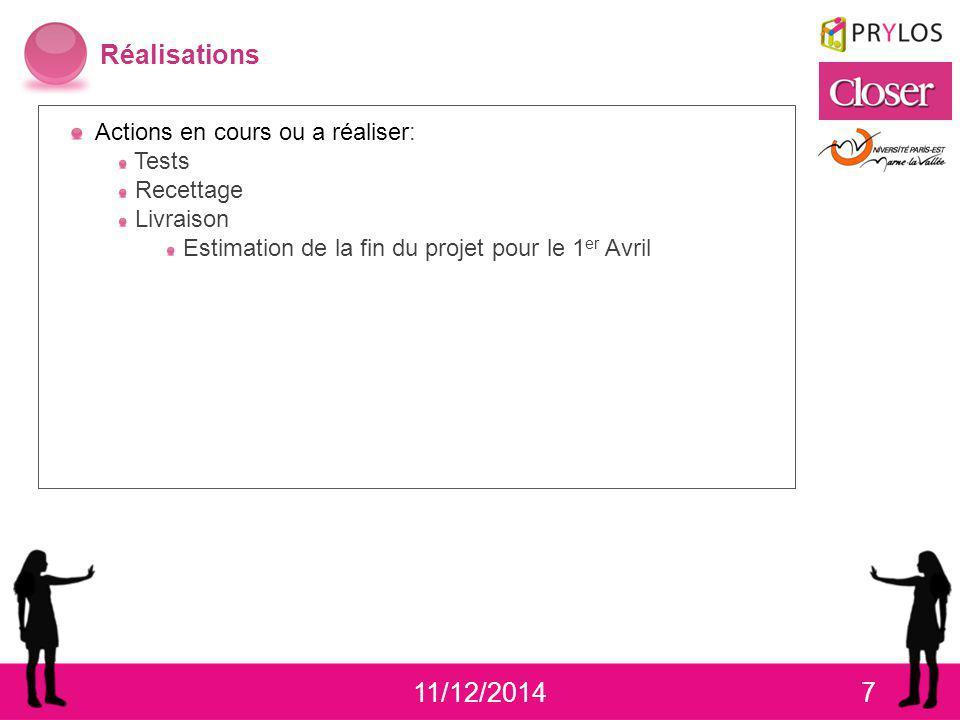 11/12/20147 Réalisations Actions en cours ou a réaliser: Tests Recettage Livraison Estimation de la fin du projet pour le 1 er Avril