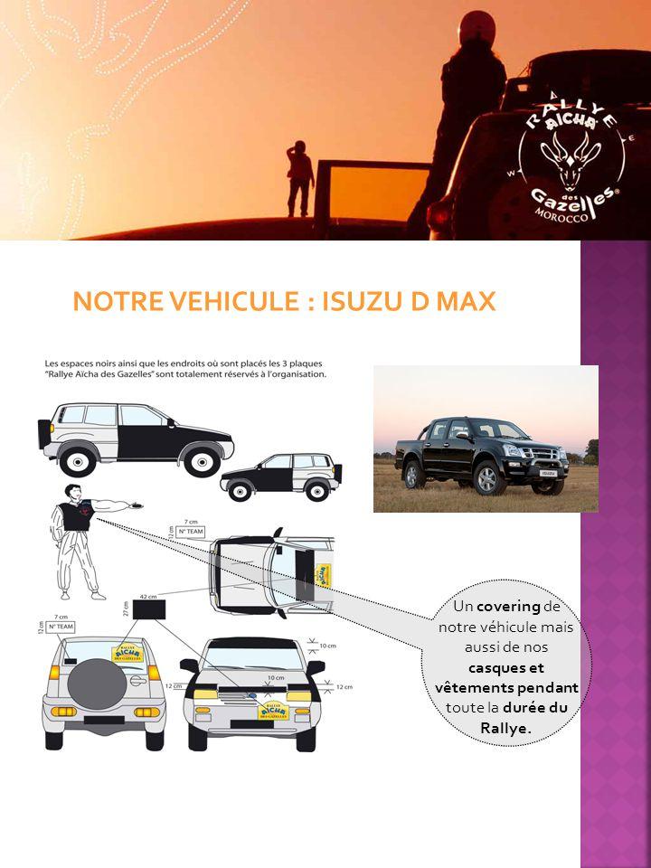 NOTRE VEHICULE : ISUZU D MAX Un covering de notre véhicule mais aussi de nos casques et vêtements pendant toute la durée du Rallye.