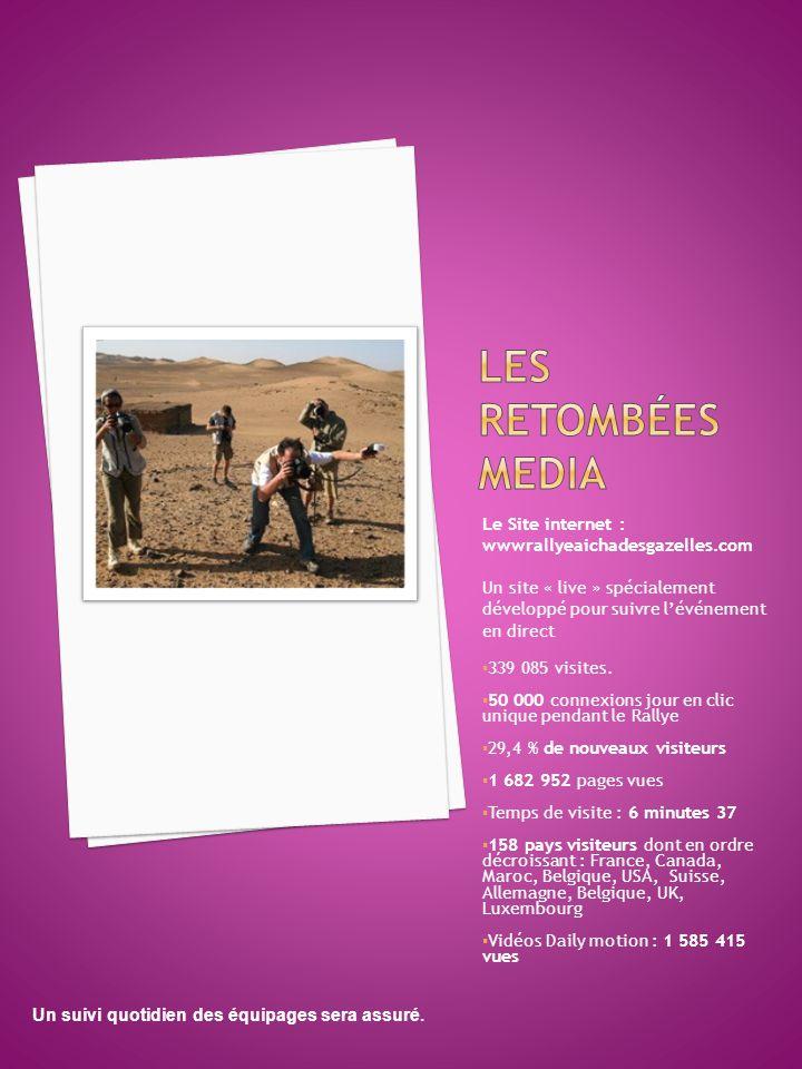 Le Site internet : wwwrallyeaichadesgazelles.com Un site « live » spécialement développé pour suivre l'événement en direct  339 085 visites.