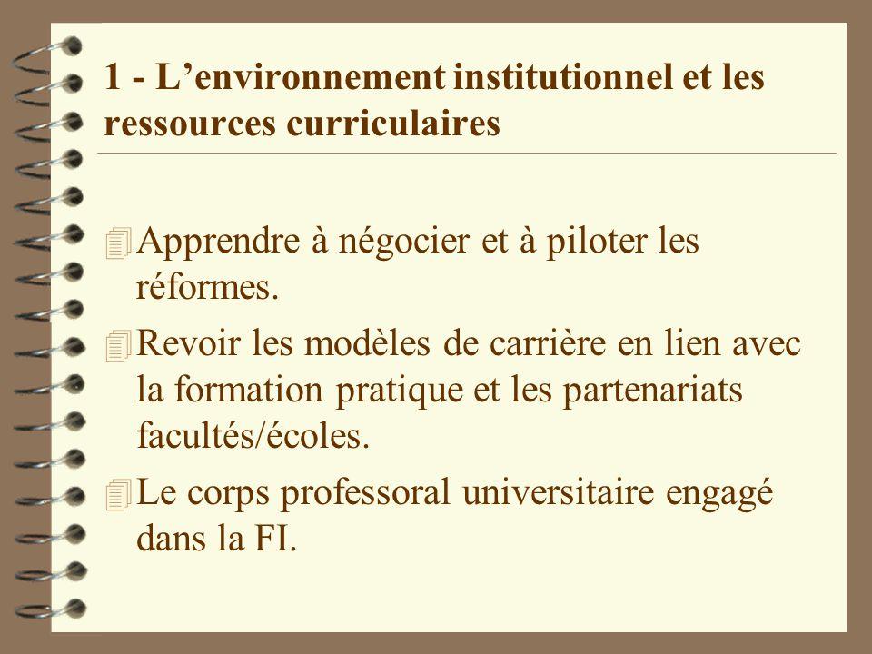 1 - L'environnement institutionnel et les ressources curriculaires 4 Apprendre à négocier et à piloter les réformes.