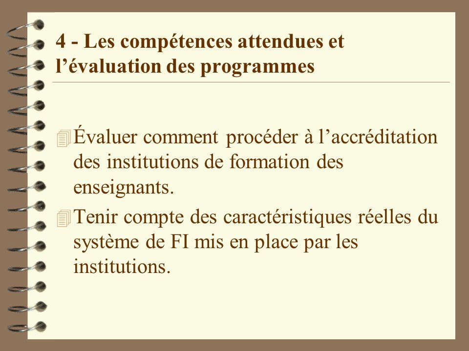 4 - Les compétences attendues et l'évaluation des programmes 4 Évaluer comment procéder à l'accréditation des institutions de formation des enseignants.