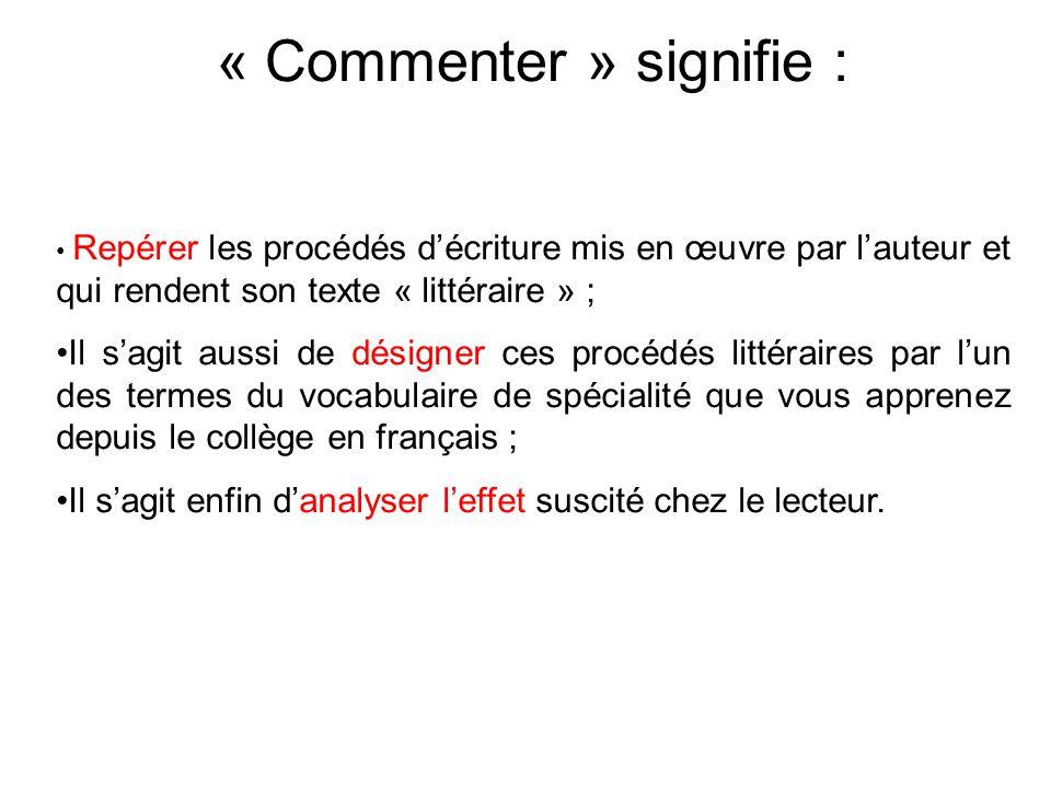 « Commenter » signifie : Repérer les procédés d'écriture mis en œuvre par l'auteur et qui rendent son texte « littéraire » ; Il s'agit aussi de désign
