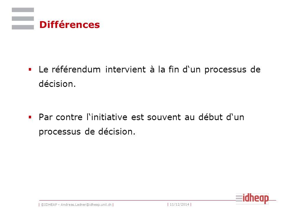 | ©IDHEAP – Andreas.Ladner@idheap.unil.ch | | 11/12/2014 | Différences  Le référendum intervient à la fin d'un processus de décision.