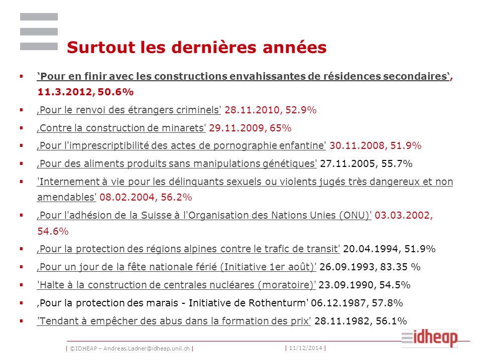 | ©IDHEAP – Andreas.Ladner@idheap.unil.ch | | 11/12/2014 | Surtout les dernières années  'Pour en finir avec les constructions envahissantes de résidences secondaires', 11.3.2012, 50.6% 'Pour en finir avec les constructions envahissantes de résidences secondaires'  'Pour le renvoi des étrangers criminels 28.11.2010, 52.9% 'Pour le renvoi des étrangers criminels  'Contre la construction de minarets 29.11.2009, 65% 'Contre la construction de minarets  'Pour l imprescriptibilité des actes de pornographie enfantine 30.11.2008, 51.9% 'Pour l imprescriptibilité des actes de pornographie enfantine  'Pour des aliments produits sans manipulations génétiques 27.11.2005, 55.7% 'Pour des aliments produits sans manipulations génétiques  Internement à vie pour les délinquants sexuels ou violents jugés très dangereux et non amendables 08.02.2004, 56.2% Internement à vie pour les délinquants sexuels ou violents jugés très dangereux et non amendables  'Pour l adhésion de la Suisse à l Organisation des Nations Unies (ONU) 03.03.2002, 54.6% 'Pour l adhésion de la Suisse à l Organisation des Nations Unies (ONU)  'Pour la protection des régions alpines contre le trafic de transit 20.04.1994, 51.9% 'Pour la protection des régions alpines contre le trafic de transit  'Pour un jour de la fête nationale férié (Initiative 1er août) 26.09.1993, 83.35 % 'Pour un jour de la fête nationale férié (Initiative 1er août)  Halte à la construction de centrales nucléares (moratoire) 23.09.1990, 54.5% Halte à la construction de centrales nucléares (moratoire)  'Pour la protection des marais - Initiative de Rothenturm 06.12.1987, 57.8%  Tendant à empêcher des abus dans la formation des prix 28.11.1982, 56.1% Tendant à empêcher des abus dans la formation des prix