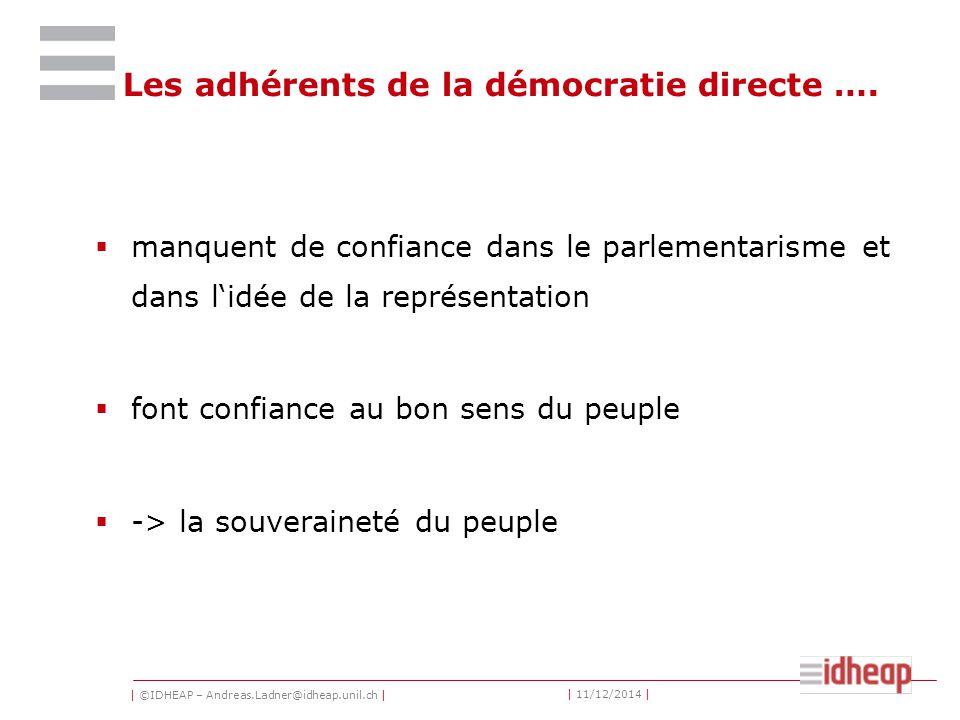 | ©IDHEAP – Andreas.Ladner@idheap.unil.ch | | 11/12/2014 | Les adhérents de la démocratie directe ….