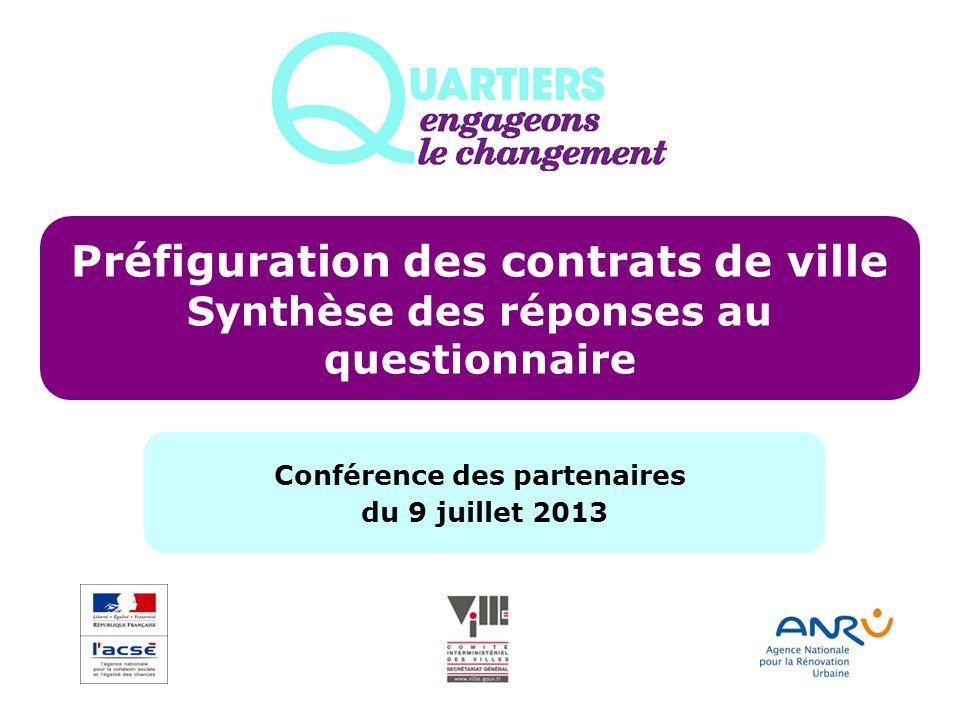 Préfiguration des contrats de ville Synthèse des réponses au questionnaire Conférence des partenaires du 9 juillet 2013