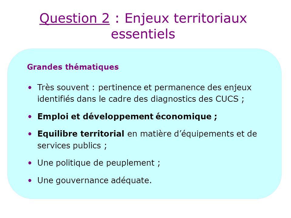 Question 2 : Enjeux territoriaux essentiels Grandes thématiques Très souvent : pertinence et permanence des enjeux identifiés dans le cadre des diagno