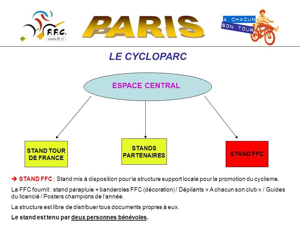 LE CYCLOPARC ESPACE CENTRAL STAND TOUR DE FRANCE STANDS PARTENAIRES STAND FFC  STAND FFC : Stand mis à disposition pour la structure support locale pour la promotion du cyclisme.