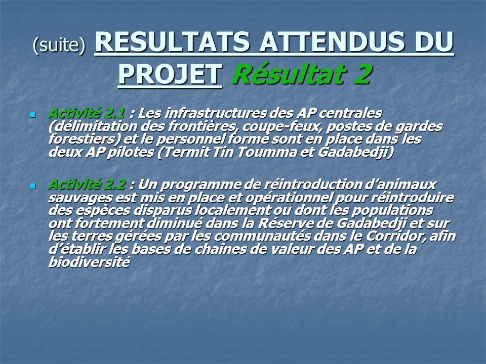 (suite) RESULTATS ATTENDUS DU PROJET Résultat 2 Activité 2.1 : Les infrastructures des AP centrales (délimitation des frontières, coupe-feux, postes d