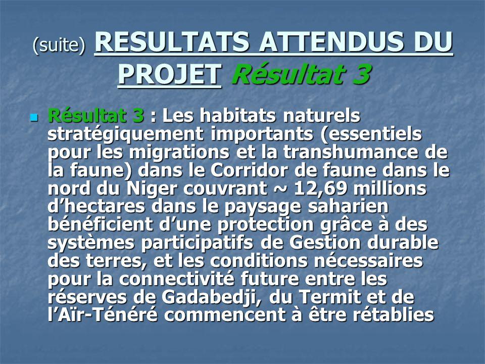 (suite) RESULTATS ATTENDUS DU PROJET Résultat 3 Résultat 3 : Les habitats naturels stratégiquement importants (essentiels pour les migrations et la tr
