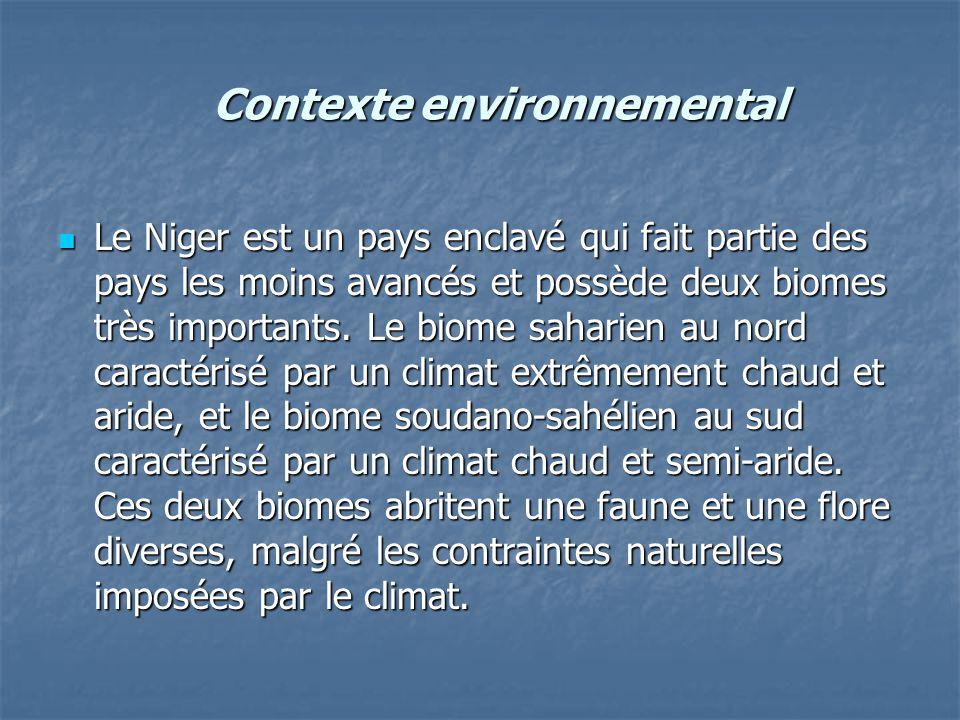 Contexte environnemental Le Niger est un pays enclavé qui fait partie des pays les moins avancés et possède deux biomes très importants. Le biome saha