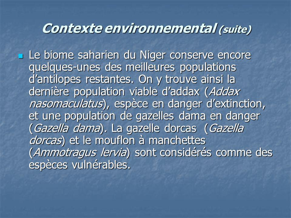 Contexte environnemental (suite) Le biome saharien du Niger conserve encore quelques-unes des meilleures populations d'antilopes restantes. On y trouv