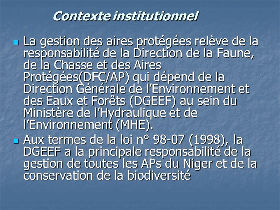 Contexte institutionnel La gestion des aires protégées relève de la responsabilité de la Direction de la Faune, de la Chasse et des Aires Protégées(DF