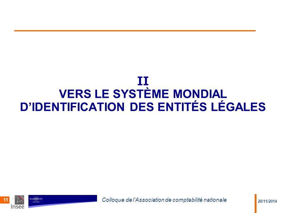 II VERS LE SYSTÈME MONDIAL D'IDENTIFICATION DES ENTITÉS LÉGALES 20/11/2014 Colloque de l'Association de comptabilité nationale 11