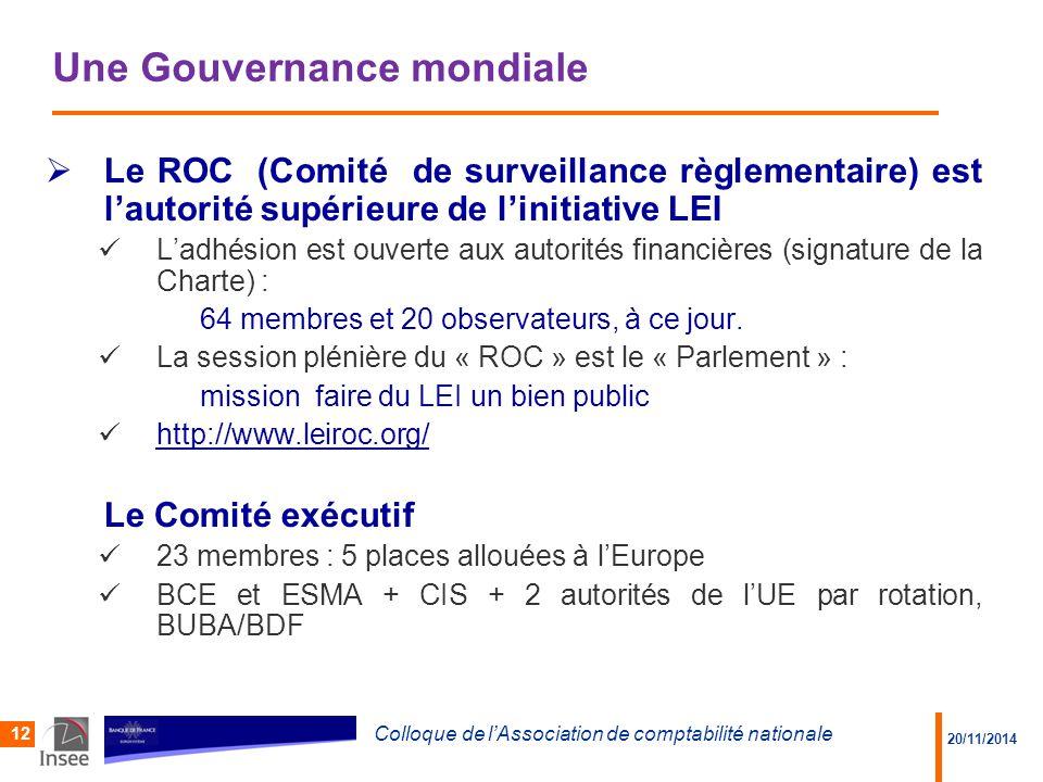 20/11/2014 Colloque de l'Association de comptabilité nationale 12 Une Gouvernance mondiale  Le ROC (Comité de surveillance règlementaire) est l'autorité supérieure de l'initiative LEI L'adhésion est ouverte aux autorités financières (signature de la Charte) : 64 membres et 20 observateurs, à ce jour.