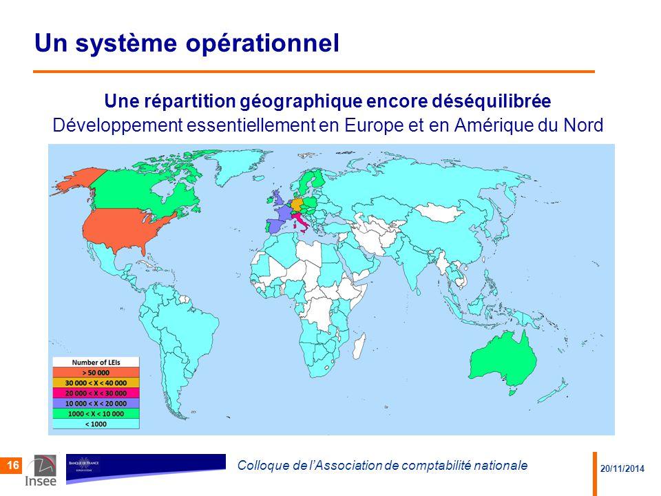 20/11/2014 Colloque de l'Association de comptabilité nationale 16 Une répartition géographique encore déséquilibrée Développement essentiellement en Europe et en Amérique du Nord Un système opérationnel