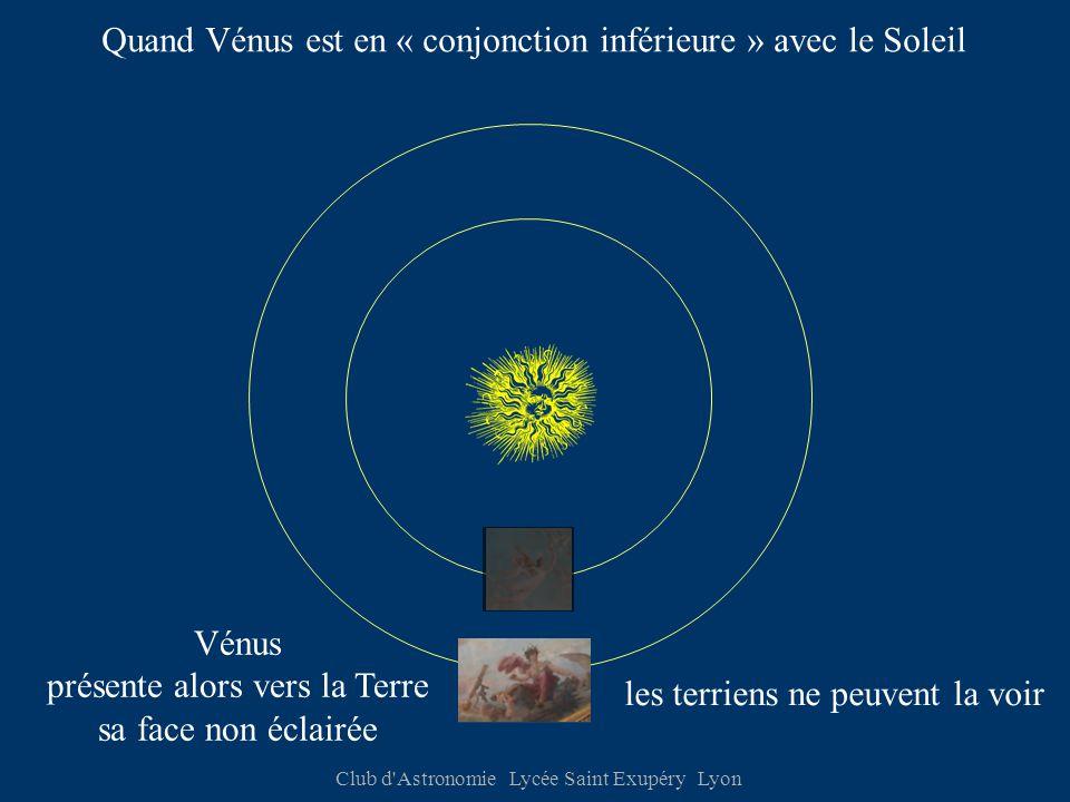 Club d Astronomie Lycée Saint Exupéry Lyon Quand Vénus est en « conjonction inférieure » avec le Soleil Vénus présente alors vers la Terre sa face non éclairée les terriens ne peuvent la voir