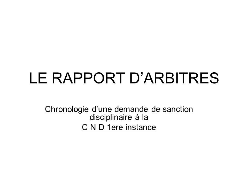 LE RAPPORT D'ARBITRES Chronologie d'une demande de sanction disciplinaire à la C N D 1ere instance Le rapport adressé 48heures (au maximum) après la date de la rencontre.