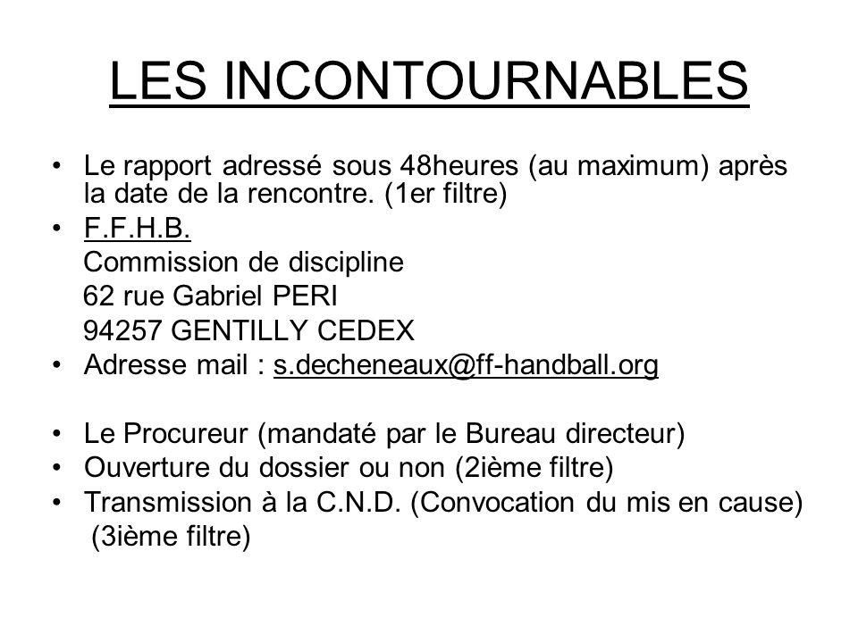 LES INCONTOURNABLES Le rapport adressé sous 48heures (au maximum) après la date de la rencontre.