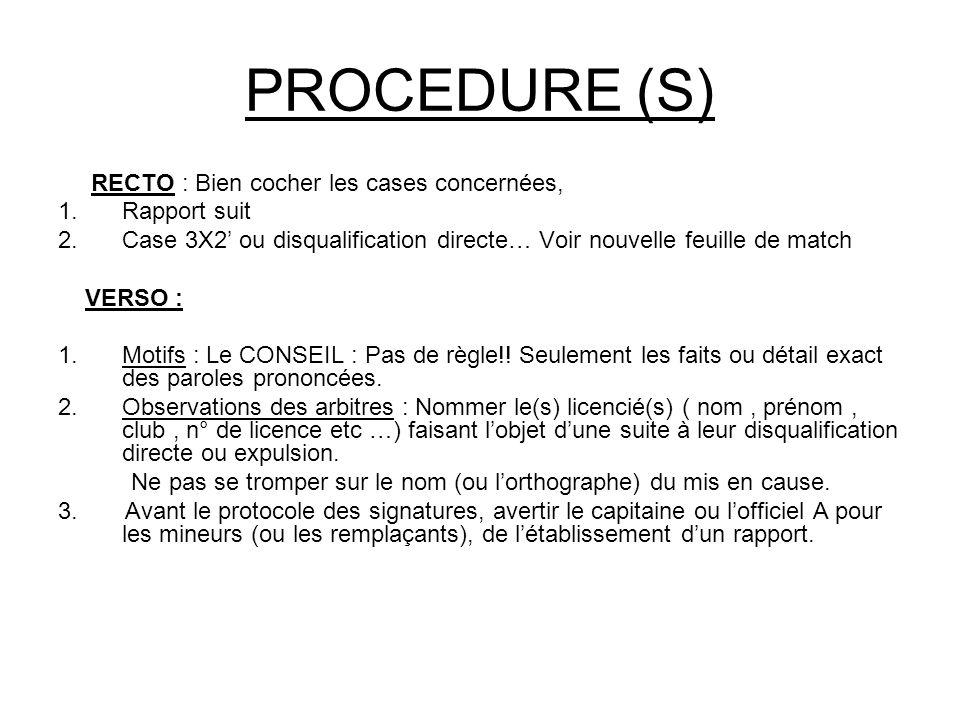 PROCEDURE (S) RECTO : Bien cocher les cases concernées, 1.Rapport suit 2.Case 3X2' ou disqualification directe… Voir nouvelle feuille de match VERSO : 1.Motifs : Le CONSEIL : Pas de règle!.