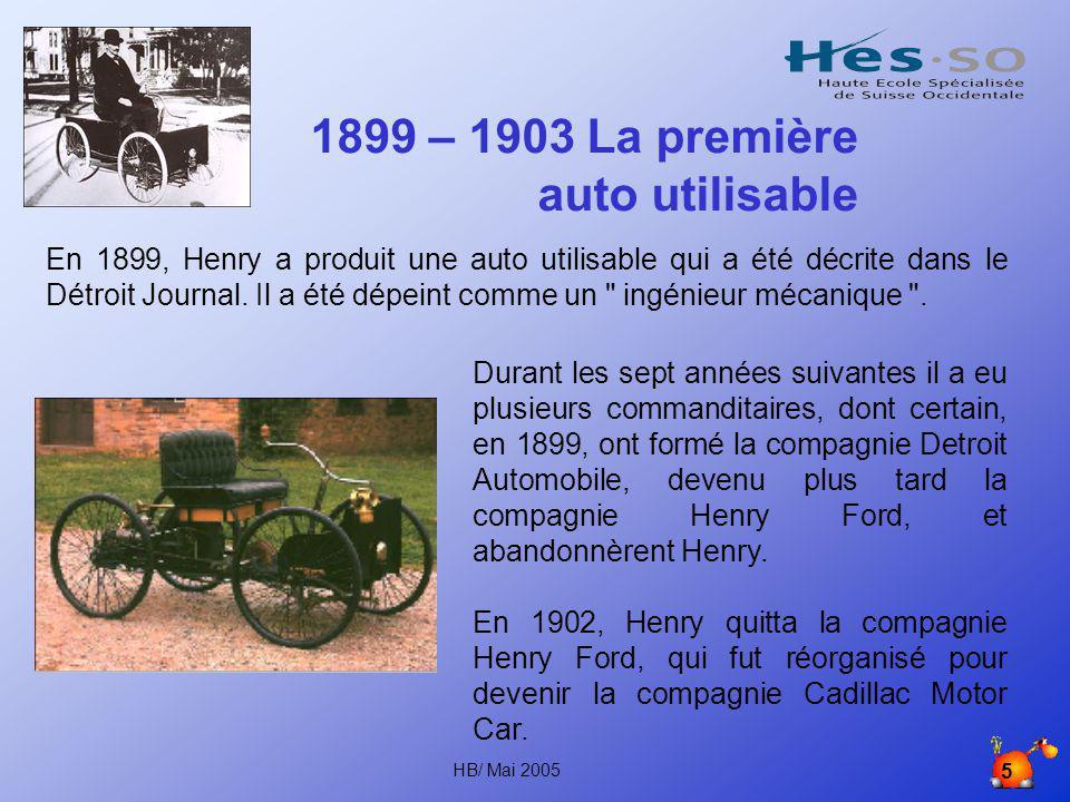 HB/ Mai 2005 4 1893: le quadricycle Il eut l'idée de développer un quadricycle, ainsi appelé parce que le châssis du véhicule à quatre chevaux était un cadre de boghei monté sur quatre roues.