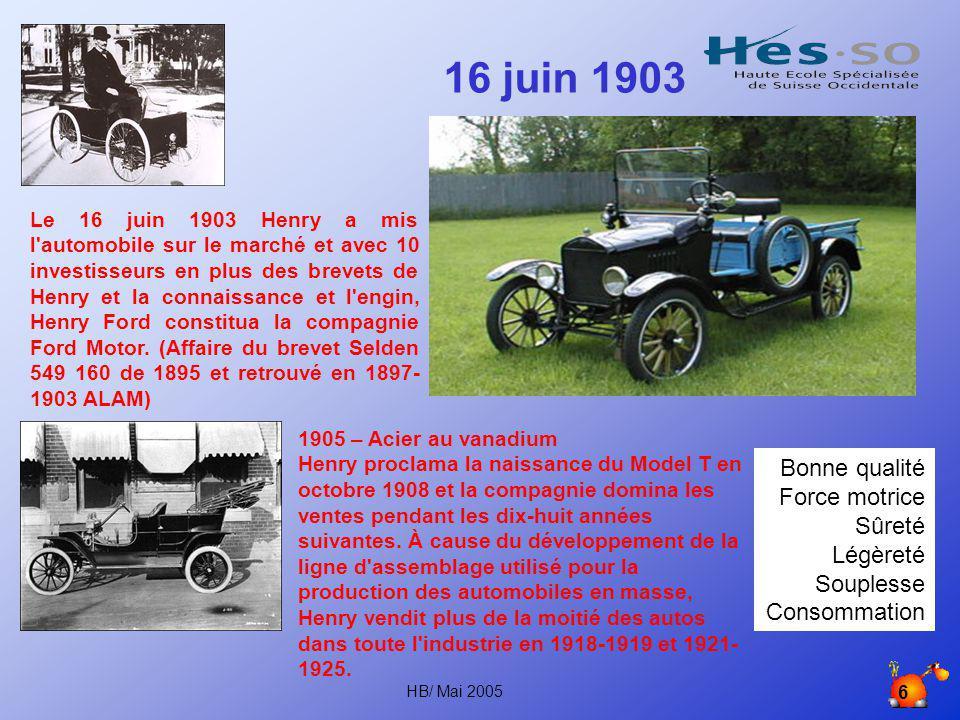 HB/ Mai 2005 5 1899 – 1903 La première auto utilisable En 1899, Henry a produit une auto utilisable qui a été décrite dans le Détroit Journal.