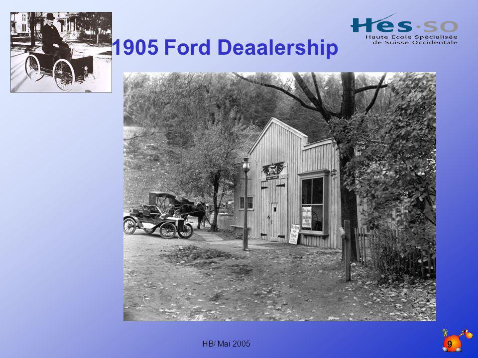 HB/ Mai 2005 8 15 456 868 Lorsque le modèle T fait son apparition, il faut 12 heures pour le fabriquer. En 1920, l'objectif de Ford est atteint: une a