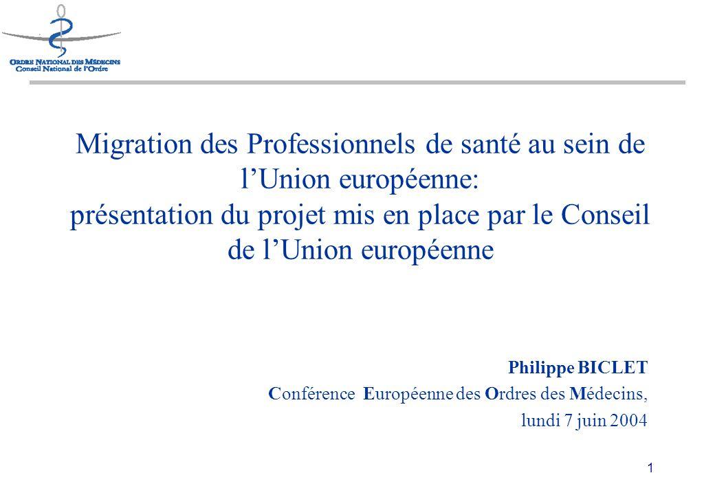 1 Migration des Professionnels de santé au sein de l'Union européenne: présentation du projet mis en place par le Conseil de l'Union européenne Philippe BICLET Conférence Européenne des Ordres des Médecins, lundi 7 juin 2004