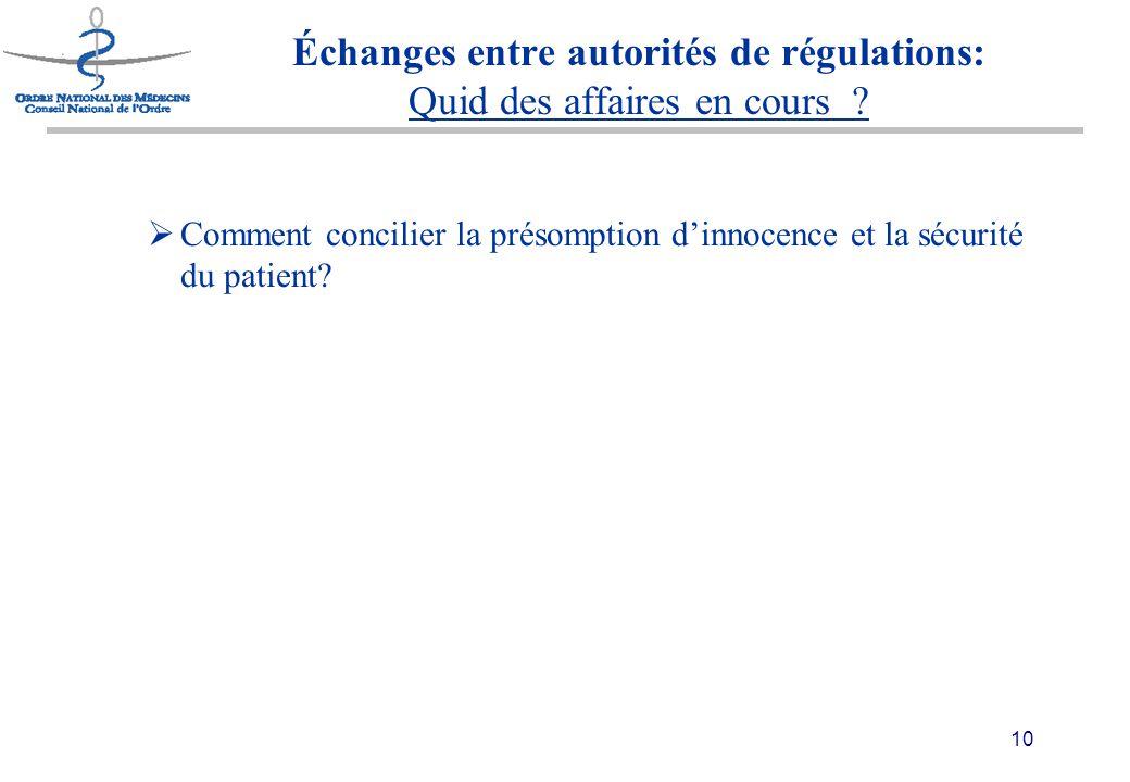10 Échanges entre autorités de régulations: Quid des affaires en cours .