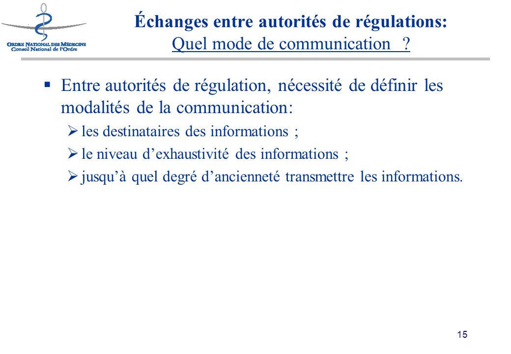 15 Échanges entre autorités de régulations: Quel mode de communication .
