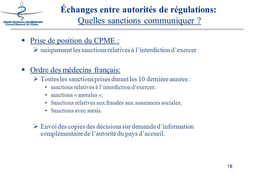 16 Échanges entre autorités de régulations: Quelles sanctions communiquer .