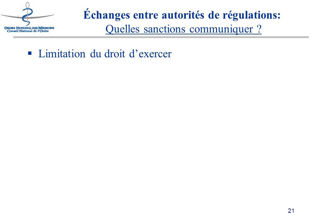 21 Échanges entre autorités de régulations: Quelles sanctions communiquer .