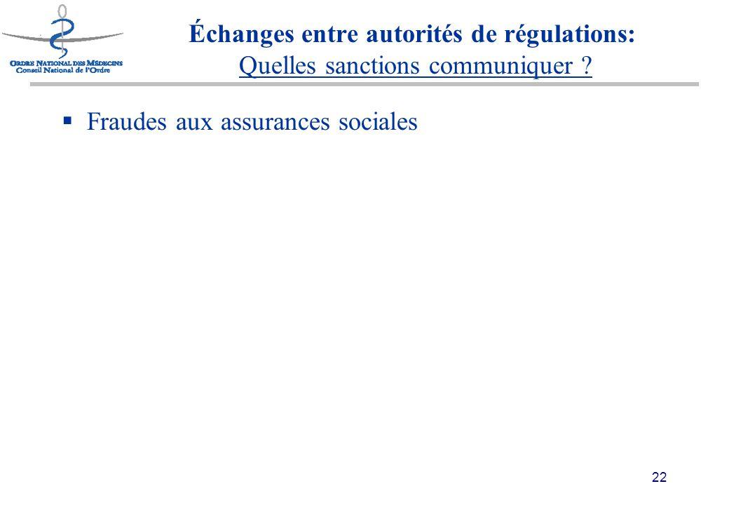 22 Échanges entre autorités de régulations: Quelles sanctions communiquer .