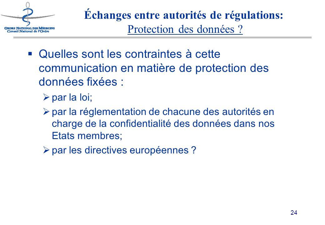 24 Échanges entre autorités de régulations: Protection des données .