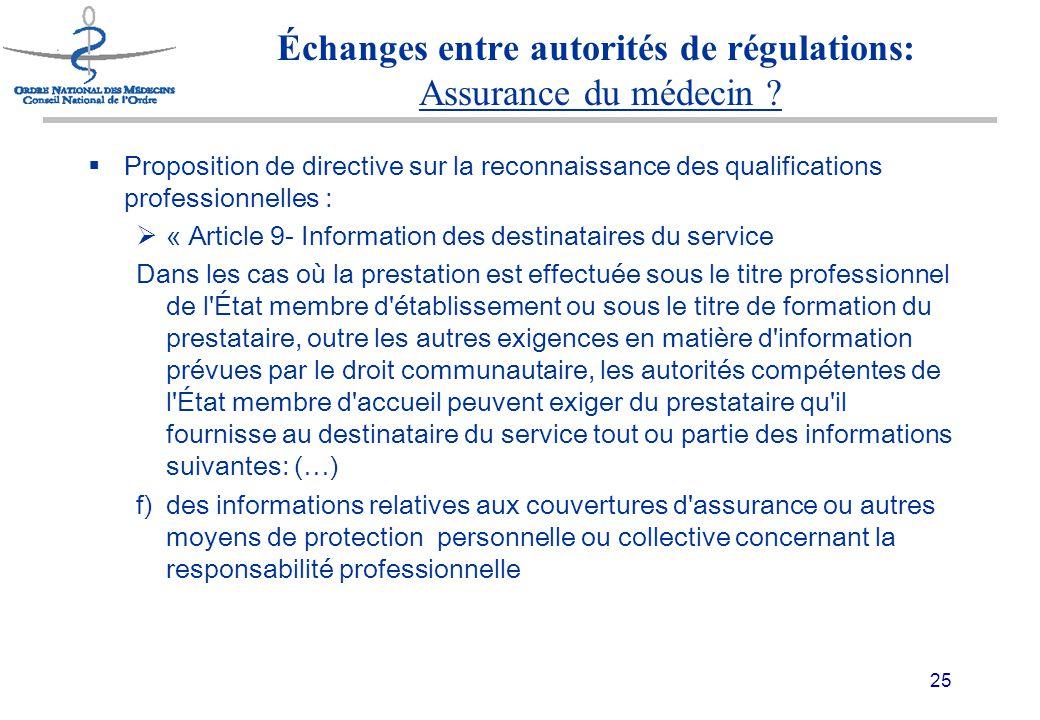 25 Échanges entre autorités de régulations: Assurance du médecin .