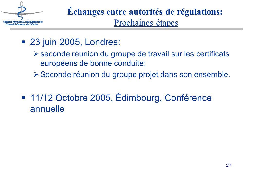 27 Échanges entre autorités de régulations: Prochaines étapes  23 juin 2005, Londres:  seconde réunion du groupe de travail sur les certificats européens de bonne conduite;  Seconde réunion du groupe projet dans son ensemble.