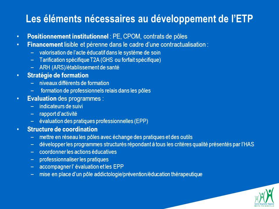 Les éléments nécessaires au développement de l'ETP Positionnement institutionnel : PE, CPOM, contrats de pôles Financement lisible et pérenne dans le