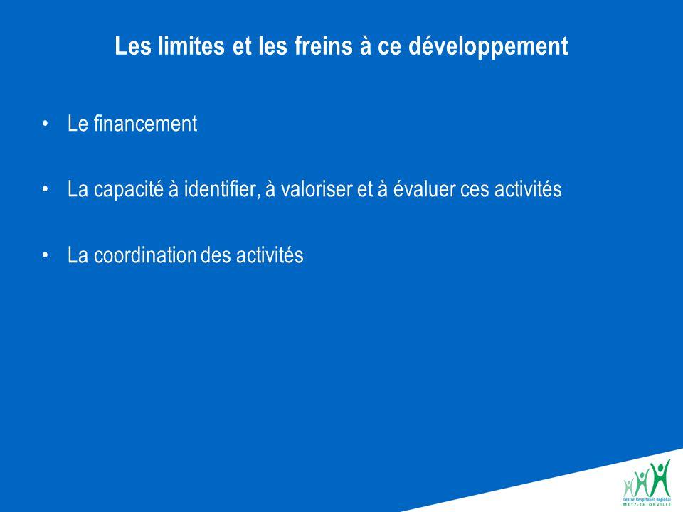 Les limites et les freins à ce développement Le financement La capacité à identifier, à valoriser et à évaluer ces activités La coordination des activ
