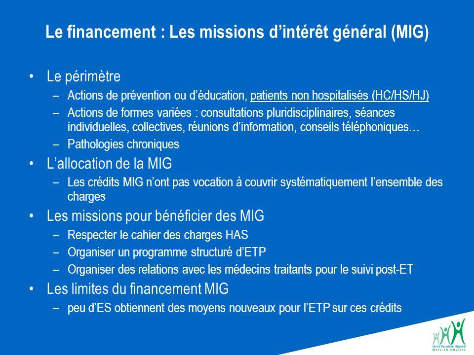 Le financement : Les missions d'intérêt général (MIG) Le périmètre –Actions de prévention ou d'éducation, patients non hospitalisés (HC/HS/HJ) –Action