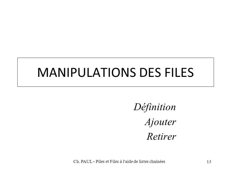 13 MANIPULATIONS DES FILES Définition Ajouter Retirer Ch. PAUL - Piles et Files à l'aide de listes chainées
