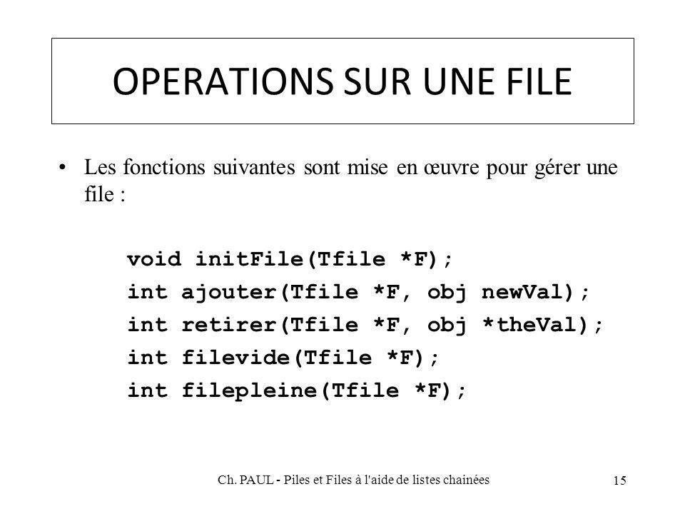 OPERATIONS SUR UNE FILE Les fonctions suivantes sont mise en œuvre pour gérer une file : void initFile(Tfile *F); int ajouter(Tfile *F, obj newVal); int retirer(Tfile *F, obj *theVal); int filevide(Tfile *F); int filepleine(Tfile *F); 15 Ch.