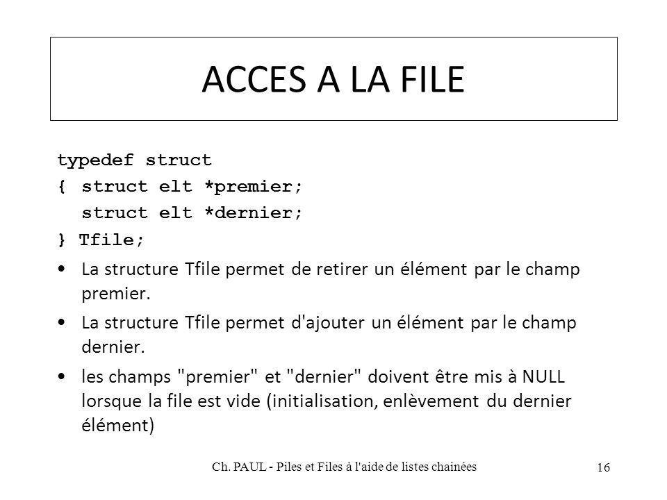 ACCES A LA FILE typedef struct {struct elt *premier; struct elt *dernier; } Tfile; La structure Tfile permet de retirer un élément par le champ premier.
