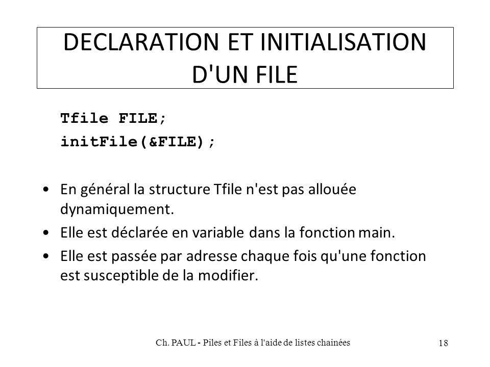 DECLARATION ET INITIALISATION D'UN FILE Tfile FILE; initFile(&FILE); En général la structure Tfile n'est pas allouée dynamiquement. Elle est déclarée